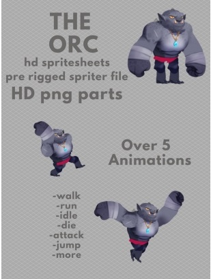 The Orc Character sprites for 2D game developers