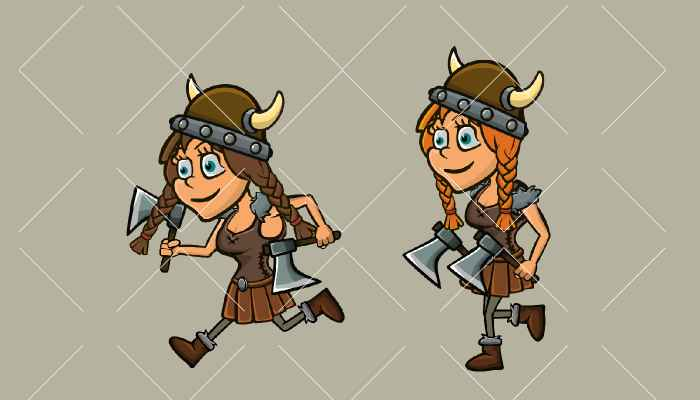 Animated female viking