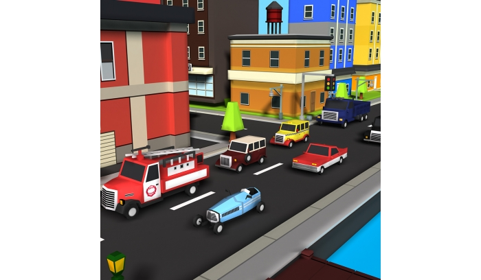 Simple Retro Town Low Poly 3D Models Pack