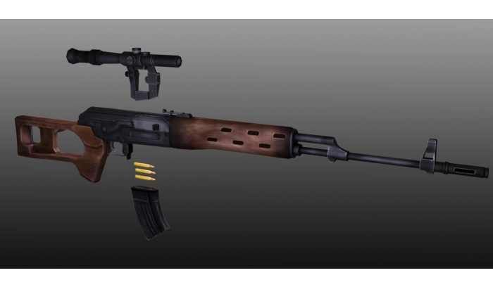 Sniper Rifle Low Poly 3D Model