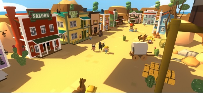 Simple Western Town Low Poly 3D Models