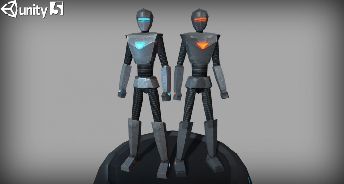 Low-Poly Animated 3D Droids