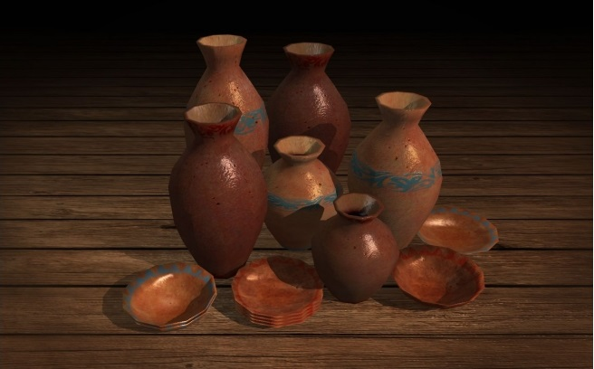 Ancient Breakable Pottery Low Poly 3D Models