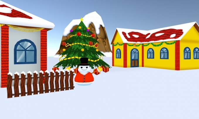 Winter House : Modular Christmas Village Low Poly